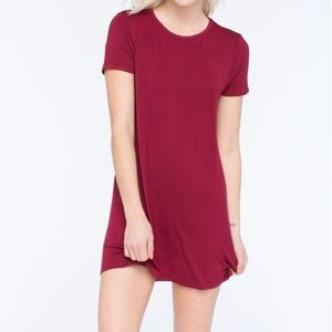 Solid red / burgundy comfy T-shirt Dress